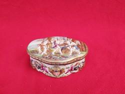 Nápolyi porcelán bonbonier, hatalmas, 1850