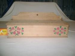 Virágos fali fűszertartó vagy fakanál, evőeszköz tartó fából