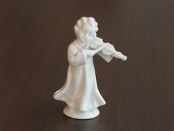 Nápolyi porcelán figura, hegedülő puttó, hibátlan