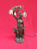 Szecessziós lámpa. Női akttal. 51 cm