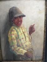 Horváth G. Andor festmény, hangulatos. Csavargó fiú cigizik ritka témája a festőnek!