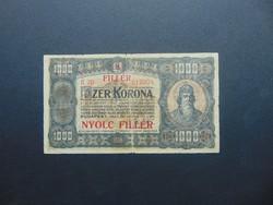 1000 korona 1923 B 70 8 fillér Felülbélyegzés !