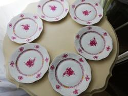 Herendi bordó aponyi mintás 6 darab süteményes tányér