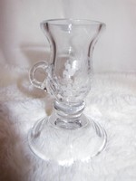 Glass - etched pattern - thick - glass - walking candle holder - 11 x 8 cm