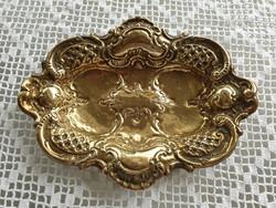 Régi barokk jellegű réz tálca vintage fémtálca