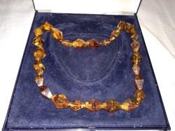 Régi  orosz borostyán színű ékszer női lánc, barna nyaklánc, amber tone russian necklace, antique
