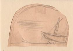 Borsos Miklós - 8 x 10 cm ceruzarajz
