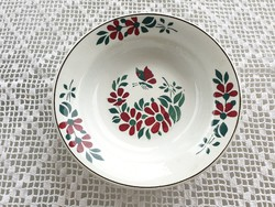 Régi Wilhelmsburgi falitányér fajansz népi falidísz lepkés virágos tányér