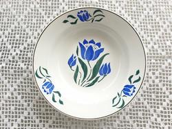 Régi Wilhelmsburgi falitányér fajansz népi falidísz kék virágos tányér