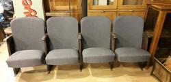 Színházi 4-es széksor,újra kárpítozott, loft, vintage