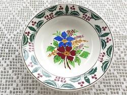 Régi Wilhelmsburgi falitányér fajansz népi falidísz virágos tányér