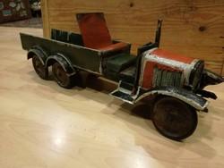 Öntöttvas és fa régi játék teherautó, loft, dekoráció