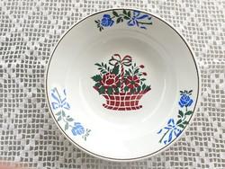 Régi Wilhelmsburgi falitányér fajansz népi falidísz virágkosaras tányér