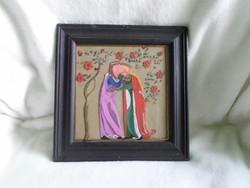 Királyi pár, retro üveg festmény