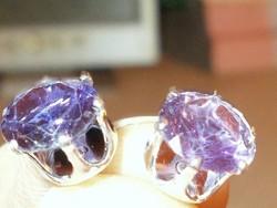 Ametiszt kristály köves 925 Ezüst Fülbevaló