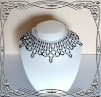 Gyöngyből fűzött csipke hatású nyaklánc SL-GY07-7