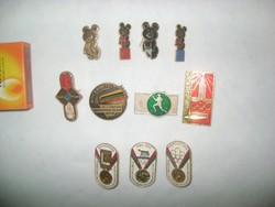 Retro olimpiai jelvény, kitűző - 11 darab - Moszkva, Misa mackó, egyéb - 1952, 1960, 1976, 1980