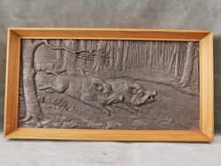XIX. századi öntöttvas kályhadíszek 2 db