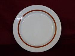 Alföldi porcelán süteményes tányér, barna csíkkal, átmérője 19 cm.