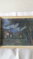 Ambrozy László - Kert képcsarnokos festmény, eredeti keretében, szignózott 80x 60 cm