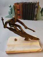 Art deco Íróasztali dísz, síelő