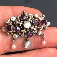 Antik ezüst násfa, bross ,gyöngy, gránát, gyöngyház,ametiszt