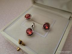 Ezüst button szett - stekker fülbevaló + medál új ékszer