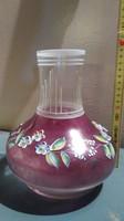 Üveg váza zománc festett