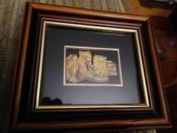 Toledoi, 24 karátos aranyból készült kép keretben, 15x18 cm, hibátlan állapotban, garanciacimkével