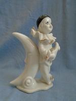Antik Pierott bohoc  a holddal porcelán lámpatest 16 cm igen komoly darab