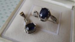 Zafír köves ezüst gyűrű és medál szett - új ékszer