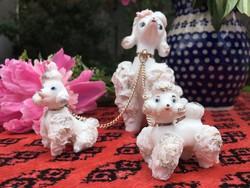 Uszkár, pudli japán porcelán kutya
