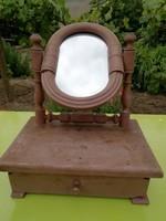 Antik asztali fésülködő tükör fiókkal