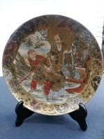 Keleti, kína, Japán stb tányér tál festett aranyozott!. Jelzett. Satsuma.Szacuma. Különleges!
