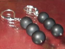 Éjfekete Onix Gyöngy 925 ezüst kézműves Fülbevaló