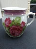 Zsolnay jellegű hasas rózsa virágos bögre. Koronás Cseh jelzés!