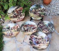 Gyönyörű 6 db lovas jelenetes angol falitányérok, Wedgwood Bone China England, Gyűjtői szépségek
