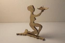 Art deco öntött vas női figurás szobor, gyertyatartó