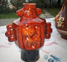 Retró barna mázas kerámia cicás, macskás váza, dísztárgy 19 cm