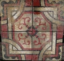Piros szürke geometrikus mintájú cementlap