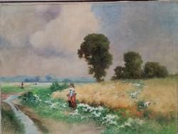 Neogrády Antal (1861-1942) Nagyméretű 100x75 cm