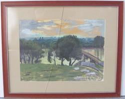 Czene Béla ( 1911-1999) Híd a Bodrogon