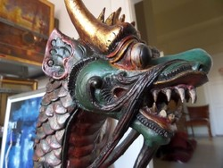 Antique oriental carved wooden dragon 1.2 m high