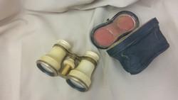 Női távcső, réz gyűrűkkel, eredeti tokkal