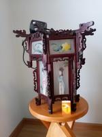 Kínai lámpa, csillár (fa és kézzel festett üveg) - nincs minimálár!