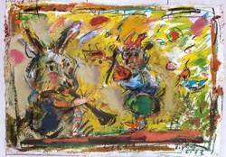 Tóth Ernő - Duett 38 x 52 cm olaj, merített papír