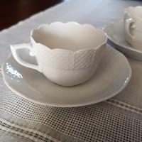 Herendi festetlen, fehér kávés csésze és csészealj