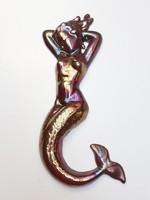Régi retro eozin zománcozott öntöttvas vas sellő falidísz vintage fém fali kép