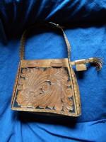 Iparművész, kézműves meseszép bőr női táska 34,5 x 24,5