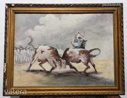 Antik festmény pasztell karton akt kép AUKCIÓ!! (417)